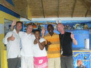 Two happy divers together with Steve, Shirley and Steve from Scuba Steve's Divning